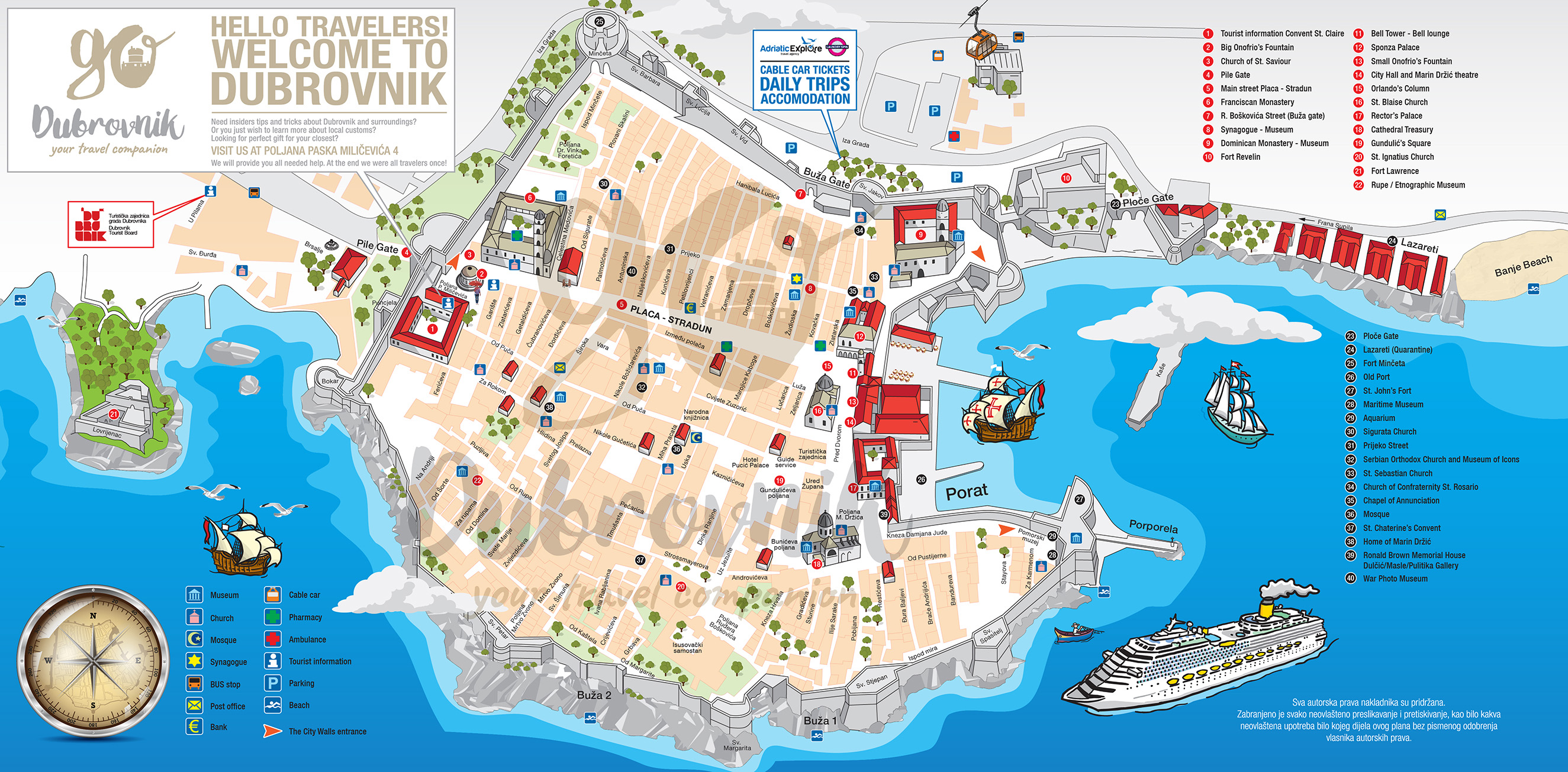 Dubrovnik map of Old Town