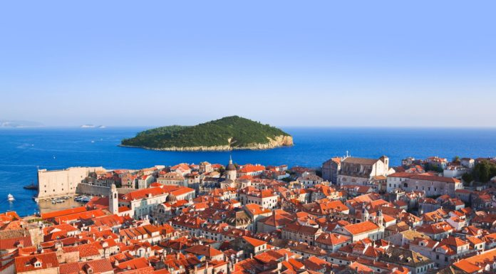 town dubrovnik and island in croatia - abstact travel background