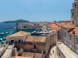 Summer scene of the Dubrovnik Old Town seen from the wall tour