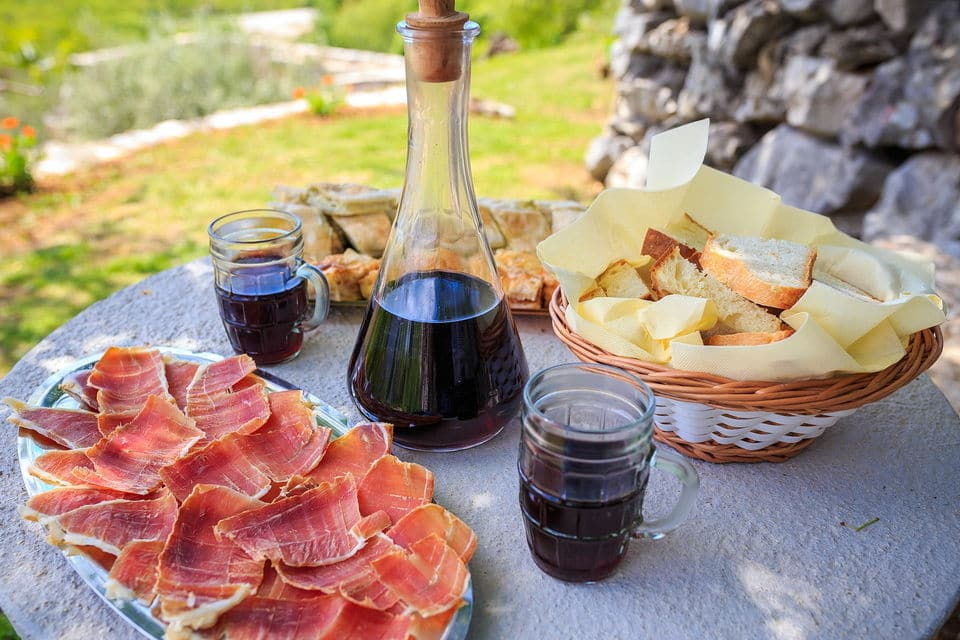dubrovnik smoked ham and wine