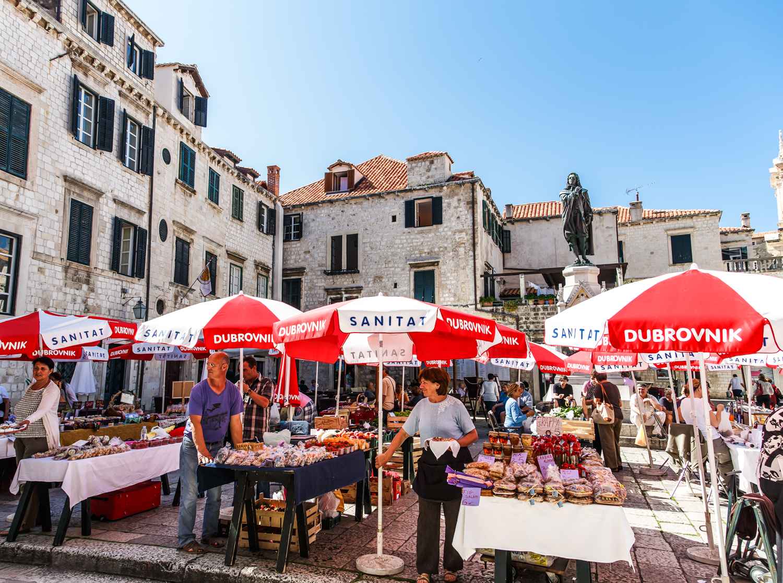 Locals shopping in a Dubrovnik, Croatia market