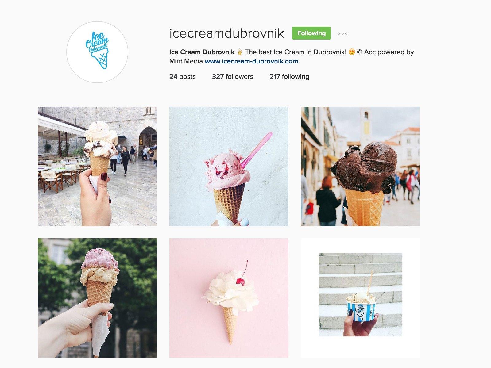 icecream dubrovnik instagram