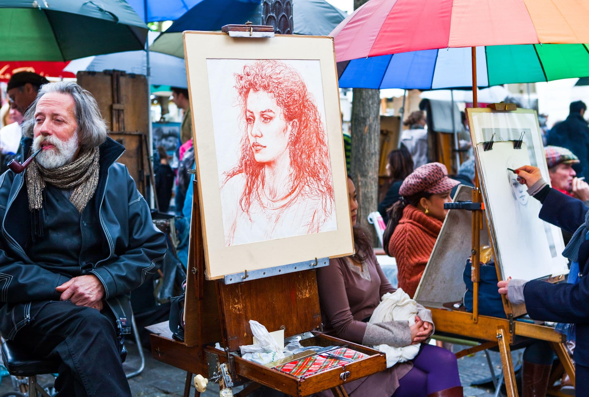 Caricature Paris street